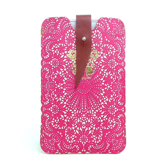 Leather iPhone case - Hot Pink Lace