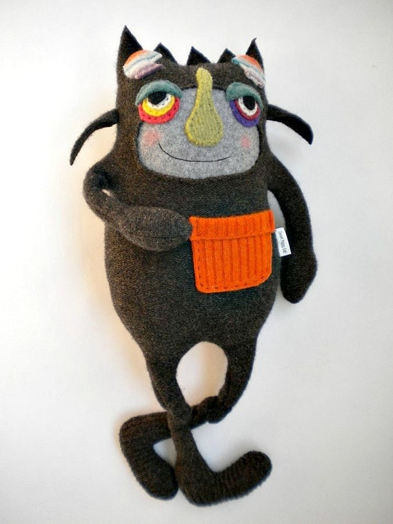 Stuffed Animal Halloween Monster Upcycled Wool Felted Sweater