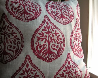 Russet Tree and Fern hand block printed on natural gray linen decorative home decor pillow case