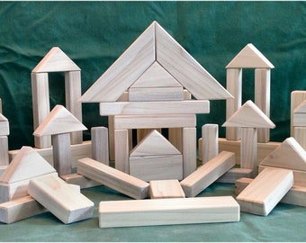 108 Piece Natural Wood Building Blocks - Natural Wood Toys - Natural - Safe - Eco-Friendly - Classic Toy Blocks