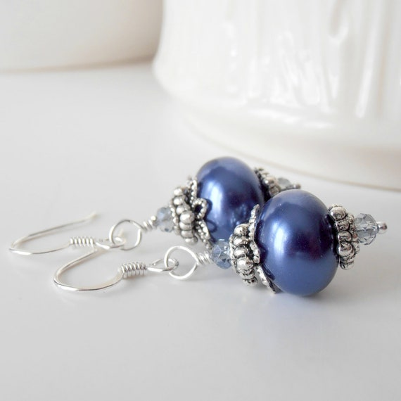 Dark Blue Pearl Earrings Blue Bridesmaid Jewelry Sets Beaded Dangles Sapphire Blue Wedding Jewelry Pearl Bridesmaid Sets Bridal Party Gifts