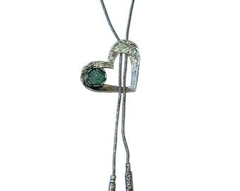 Roman Glass Necklace, Valentine Roman Glass Necklace, Unique Heart Necklace, Long Heart Necklace, Silver Heart Necklace,