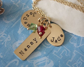 Personalized Grandma Necklace, Gold Personalized Necklace, Mom Necklace, Name Charm Gold, Mothers Day Gift