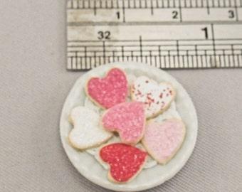 Dollhouse Miniature Valentine Sugar Cookies on Plate