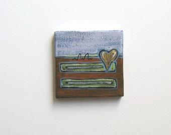 Original Gold Abstract Acrylic Painting on a mini canvas, Heart, Valentine, Home Decor, Mini easel, gift idea