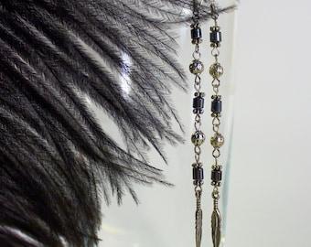 Hemania - long bided earrings with hematite gemstone.