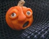 "Halloween Whimsical OOAK jewelry Jack-o-lantern pumpkin wearable art -- ""Oh-No"" 2012-p1"