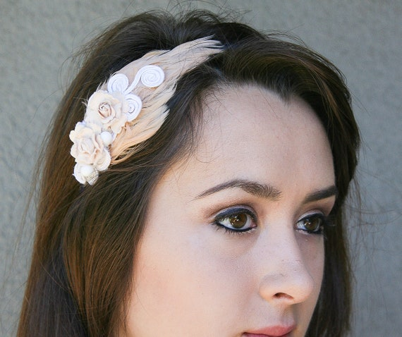feathers and lace headband for women and teens