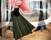"ACEO/ATC Mini Fine Art Print - ""Dream Seeker"" - Artist Trading Card 2.5x3.5 - Print of Original Artwork by Jessica Grundy"