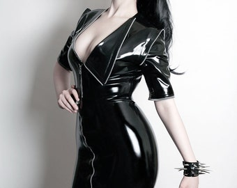 Latex Rubber Black Zip detail lace up back skirt