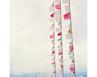 prayer flag photography / tibetan prayer flag, peace, buddhism, joy, happiness / prayer flags no. 2 / 8x 10 fine art photo