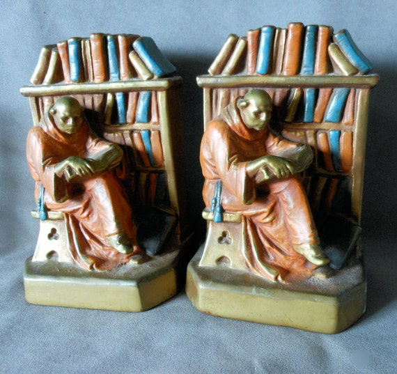 Arts crafts monk in library armor bronze bookends - Armor bronze bookends ...