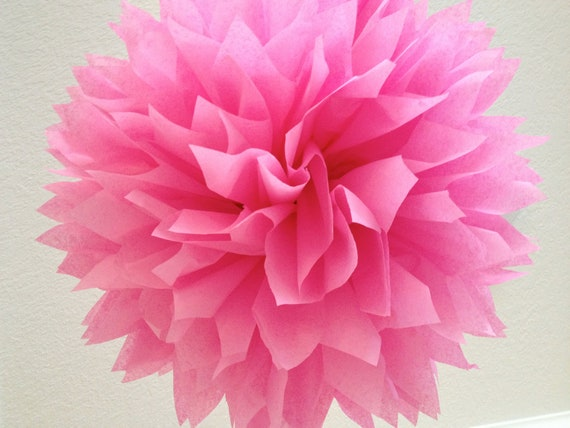 FUCHSIA tissue paper pompom girl first birthday decorations tea