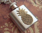 Mini Flask Keychain Brass Pineapple Flask 1 Ounce Gothic Victorian Tiki Steampunk Unisex Flask Tiny Flask