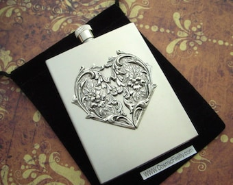 Silver Heart Flask Industrial Steampunk Style Valentine's Day Gift Valentine's Heart Rectangular Square Edges Silver Stainless Steel