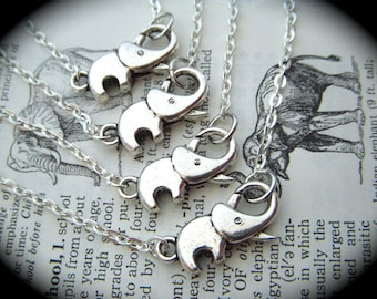 Set Of 4 Tiny Elephant Necklaces Silver Tone Metal Fashion Jewelry Clasp Trunk Up For Good Luck Costume Jewelry Special Buy 3 Get 1 FREE