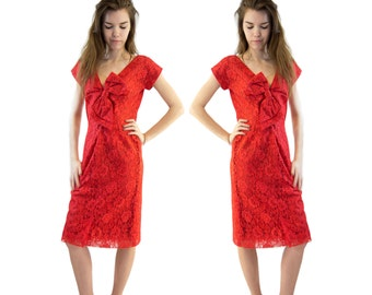 Vintage 1950s Short Sleeve Below the Knee Formal V-Neck Red Lace Bow Dress .. Small