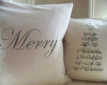Merry Christmas pillow cover - Christmas pillows - gray - linen - decoration - christmas pillow - christmas decor - natural - cu