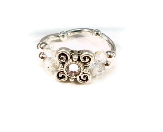 Cocktail Ring, Crystal Ring, Stretch Ring