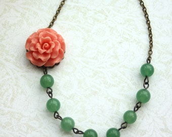 A Peachy Coral Ruffled Rose Flower, Green Aventurine Gemstone Necklace. Spring. Bridesmaid Necklaces. Bridesmaid Jewelry. Coral Wedding