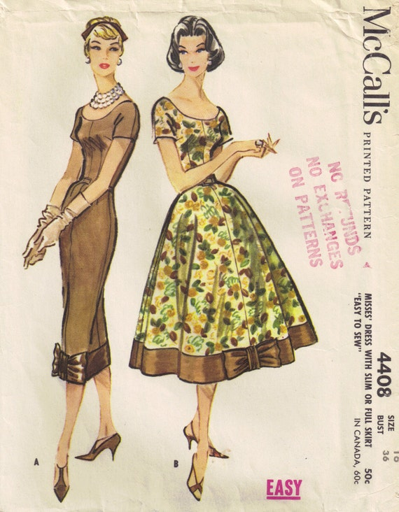 1950s Vintage McCalls 4408 Slim Sheath Wiggle and Bouffant Dress Size 16 Bust 36