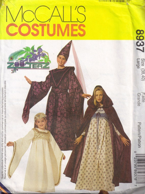 McCalls 8937 Misses Medieval Renaissance Dress and Cape Sewing Pattern Adult Plus Size 38, 40 Large