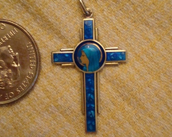 HTF French Antique Blue Guilloche Enamel and Sterling Silver Crucifix Cross Holy Virgin Mother and Roses