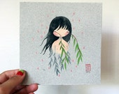 Weeping Willow - original gouache painting on beautiful handmade paper
