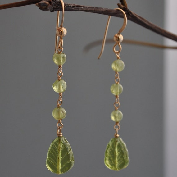 Peridot Earrings   August Birthstone Earrings   Leaf Earrings   Long Green Earrings   Gold and Peridot Earring   Gold Leaf Earrings