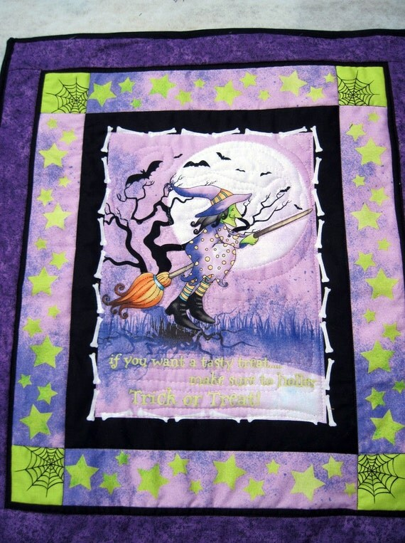 Sale Halloween  Decor Quilted Wall Hanging - Purple Trick or Treat reduced by 25%