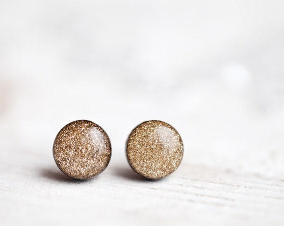 Gold glitter earring studs - Gold glitter post earrings - Sparkling earrings - Holiday jewelry line (E121)