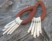 Leather Fringe Earrings, Wooden Teardrop Earrings, Winter White, Native, Tribal. Hippie Chic, -MAJORETTE-