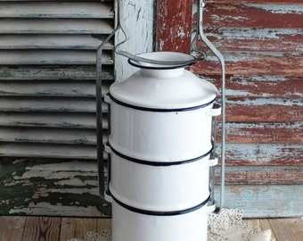 Vintage European Tiered Porcelain  Lunch Pail by avintageobsession on etsy