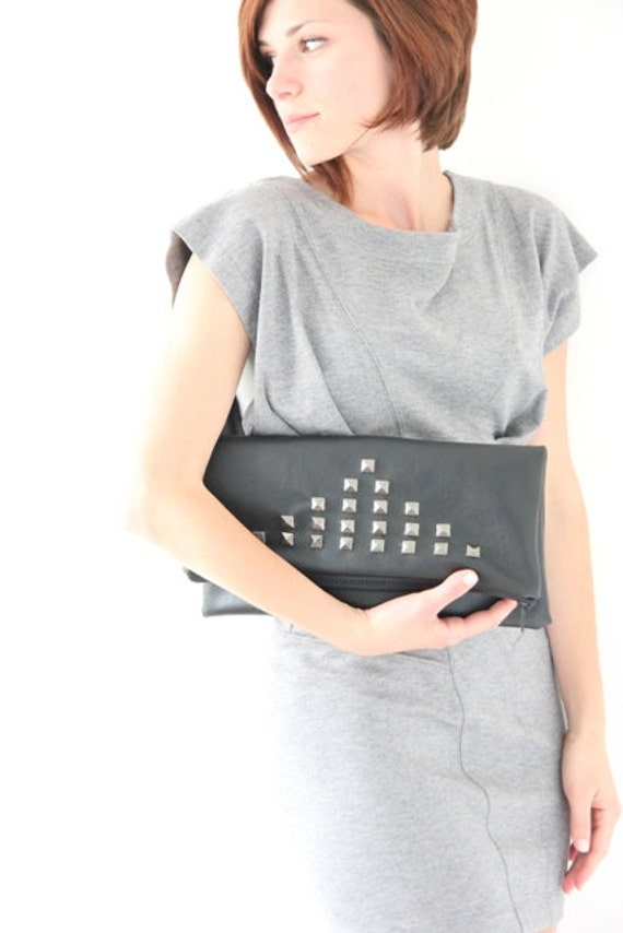 SALE Large leather carry-all pouch (studded bag, large fold over clutch, zippered pouch) - 30 % off
