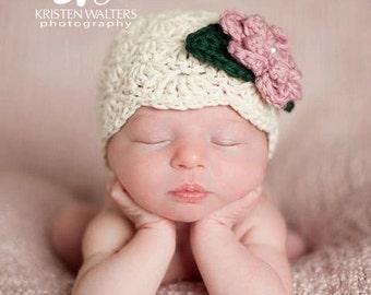 Off White Newborn Baby Girl Flapper Style Hat, Ecru Newborn Baby Beanie Photo Prop