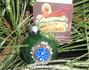 Embellished Vintage Ornament, Green and blue ornament