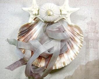 Seashell Ring Pillow - Sea Urchin Seashell Ring Bearer's Pillow