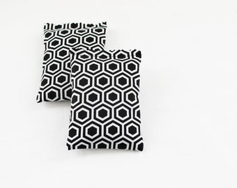 Black and White Lavender Sachets, Geometric Honeycomb, Modern Home Decor, Scented Drawer Sachets