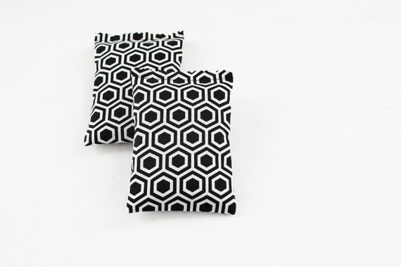 Black and White Lavender Sachets, Geometric Honeycomb, Modern Home Decor, Scented Drawer Sachets