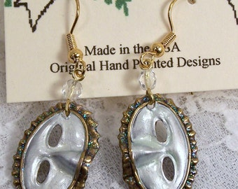 Hand Painted Mardi Gras Earrings, White Masquerade Mask, Theater Gifts, Masquerade Ball, Halloween Party Costume Jewelry, Hand Made USA