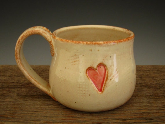 Pottery Mug with Country Heart - Rustic White - Coffee Mug - by DirtKicker Pottery