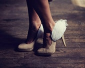 Grecian Goddess Wing feather shoe clips in white
