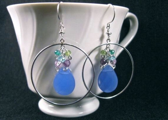 Cluster Hoop Earrings- Silver, Blue Chalcedony, Gemstone Cluster