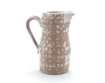 Pitcher (white with unglazed pattern), rustic modern stoneware pottery