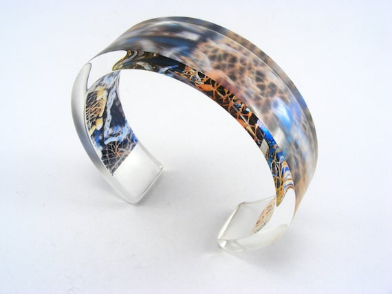 Lobster Nets Bangle, Contemporary Perspex Jewelry, Seaside Nautical theme