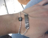 RESERVED for Autumn - two Inscription bracelets - silver and recycled glass