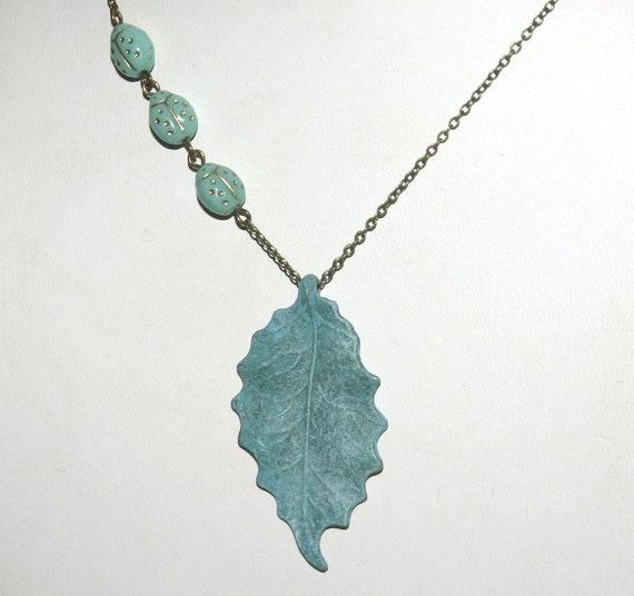 Leaf Necklace, Ladybug Necklace, Fall Necklace, Hand Painted Patina, Antique Bronze Necklace, Antique Brass, Long Necklace