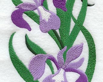 Iris Blooms - Embroidered Terry Kitchen Towel Bathroom Hand Towel