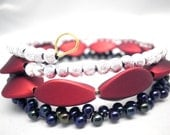 Triple Wrap Bracelet Bangle Silver, ruby red, iridescent midnight blue