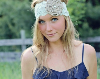 RUTH - mint and gray lace ruffle rose headband